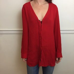 Alice + Olivia Red Long Sleeve Silk Blouse Top